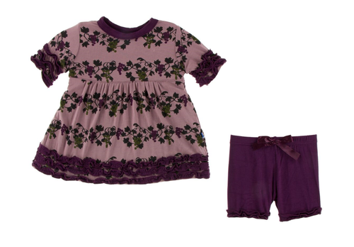 KicKee Pants Short Sleeve Babydoll Outfit Set - Raisin Grape Vines