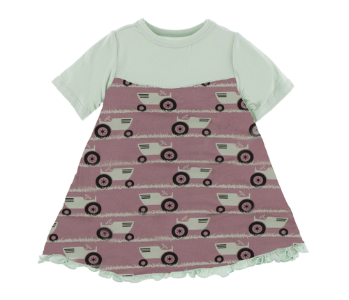 Kickee Pants Classic S/S Swing Dress - Raisin Tractor and Grass