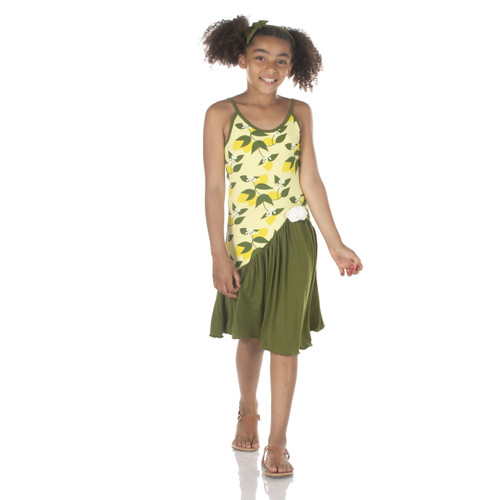 Kickee Pants Tarentella Dress - Lime Blossom Lemon Tree