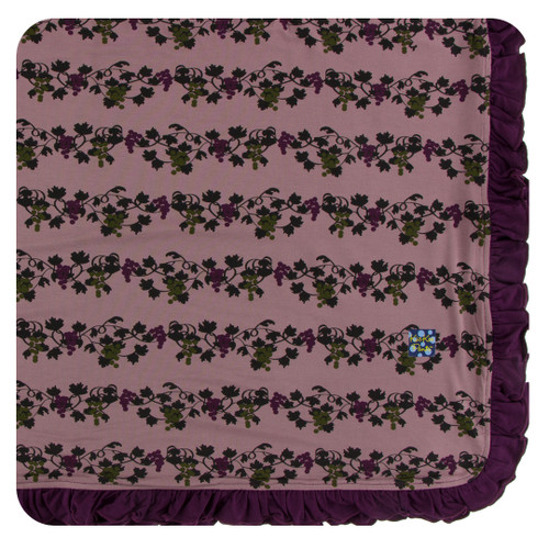 Kickee Pants Ruffle Toddler Blanket - Raisin Grape Vines