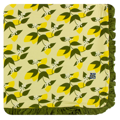Kickee Pants Ruffle Toddler Blanket - Lime Blossom Lemon Tree