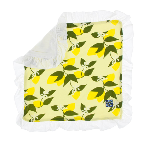 Kickee Pants Print Ruffle Bamboo Lovey - Lime Blossom Lemon Tree