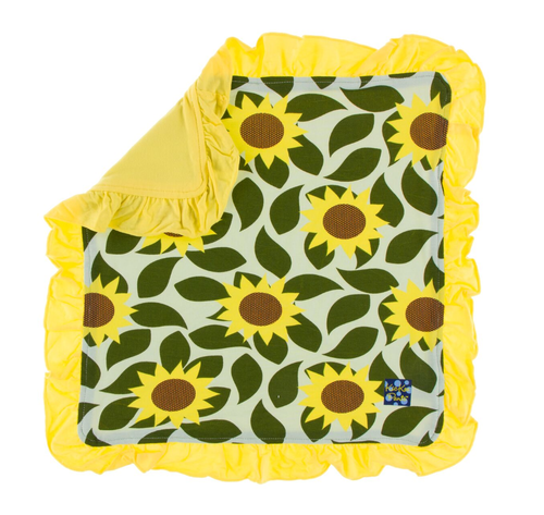 Kickee Pants Print Ruffle Bamboo Lovey - Aloe Sunflower
