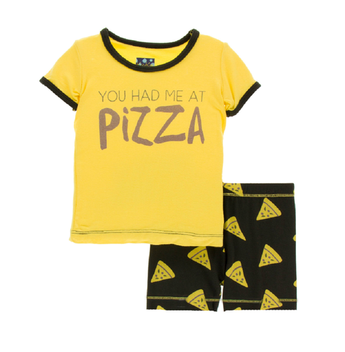 Kickee Pants Print Women's S/S Pajama Set with Shorts - You Had Me at Pizza