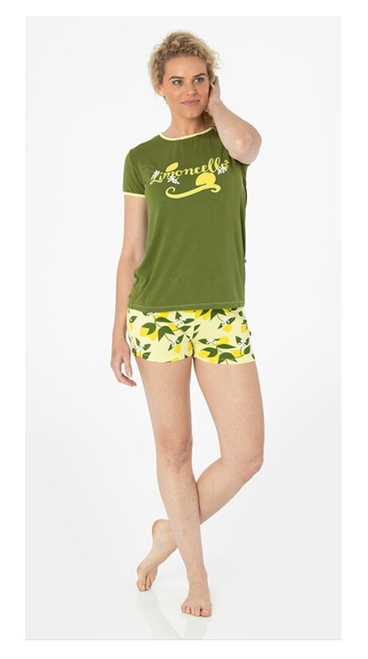 Kickee Pants Print Women's S/S Pajama Set with Shorts - Lime  Blossom  Lemon  Tree