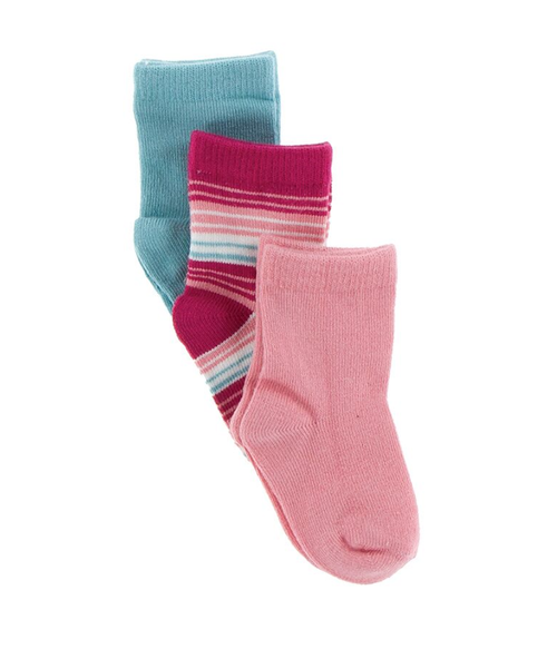 KicKee Pants Cancun Sock Set of 3 - Glacier, Cancun Strawberry Stripe, Strawberry