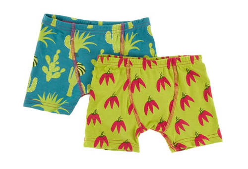 Kickee Pants Cancun Boxer Briefs Set of 2 - Seagrass Cactus & Meadow Chili Peppers