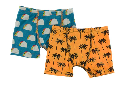 Kickee Pants Cancun Boxer Briefs Set of 2 - Seagrass Tacos & Apricot Palm Trees