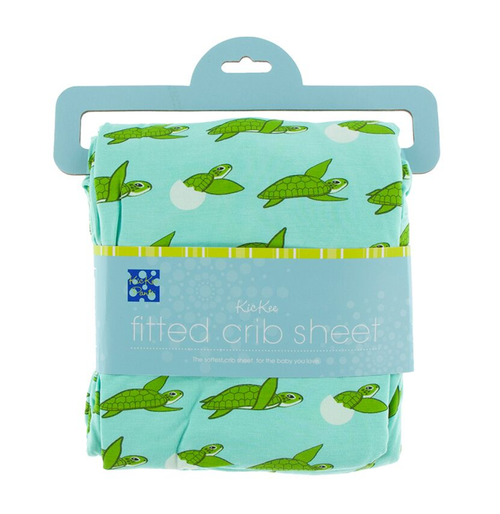 Kickee Pants Cancun Print Fitted Crib Sheet - Glass Sea Turtles