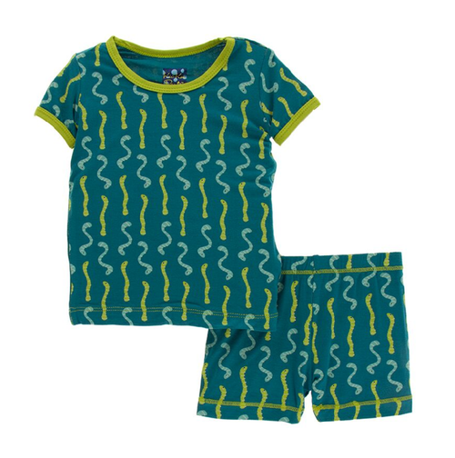 Kickee Pants Cancun Print S/S Pajama Set with Shorts - Oasis Worms