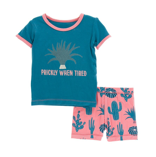 Kickee Pants Cancun Print S/S Pajama Set with Shorts - Strawberry Cactus