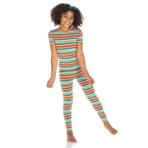 Kickee Pants Cancun Print S/S Pajama Set - Cancun Strawberry Stripe
