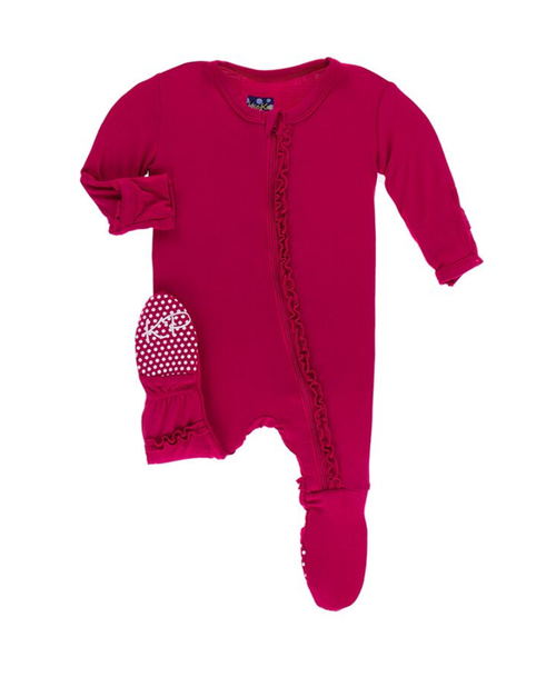 Kickee Pants Cancun Solid Muffin Ruffle Footie with Zipper - Rhododendron