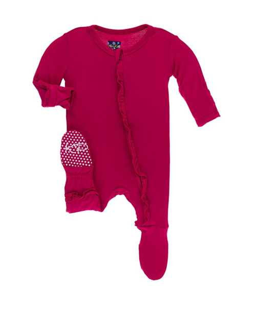 Kickee Pants Cancun Solid Layette Classic Ruffle Footie with Zipper - Rhododendron
