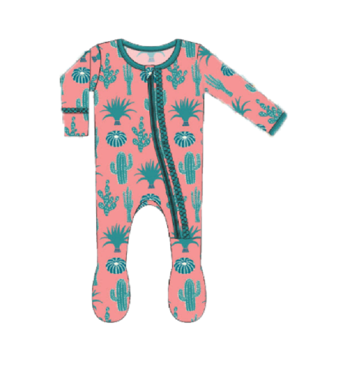 Kickee Pants Cancun Print Muffin Ruffle Footie with Zipper - Strawberry Cactus