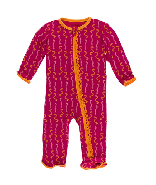 Kickee Pants Cancun Print Muffin Ruffle Coverall with Zipper - Rhododendron Worms