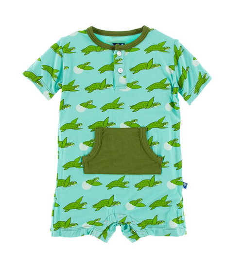 Kickee Pants Cancun Print Kangaroo Romper - Glass Sea Turtles