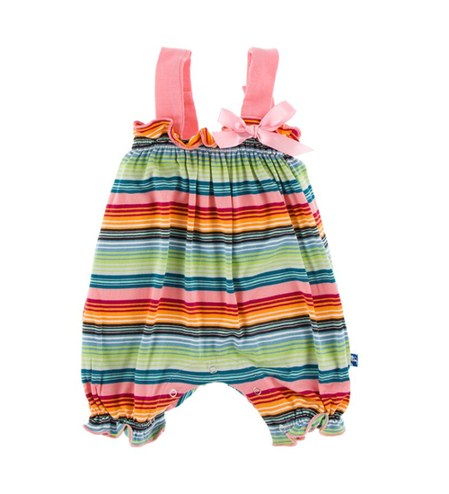 Kickee Pants Cancun Print Gathered Romper with Bow - Cancun Strawberry Stripe