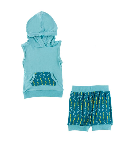 Kickee Pants Cancun Print Hoodie Tank Outfit Set - Oasis Worms