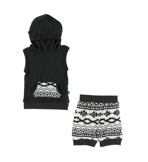 Kickee Pants Cancun Print Hoodie Tank Outfit Set - Natural Mayan Pattern