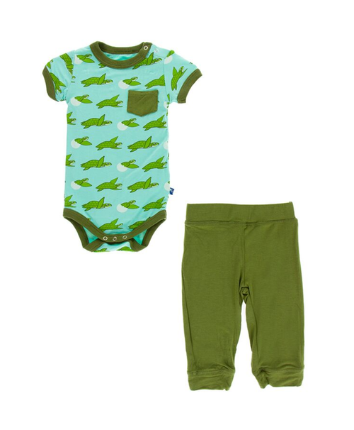 Kickee Pants Cancun S/S Pocket One Piece & Pant Outfit Set - Glass Sea Turtles