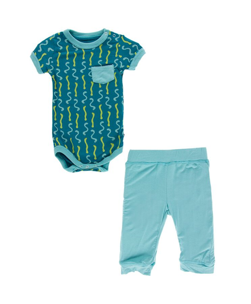 Kickee Pants Cancun S/S Pocket One Piece & Pant Outfit Set - Oasis Worms