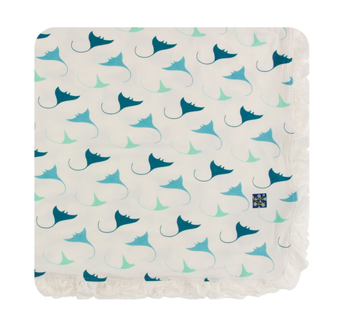 Kickee Pants Cancun Print Ruffle Toddler Blanket - Natural Manta Ray