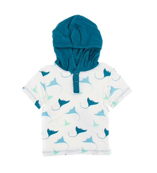 KicKee Pants Cancun Print Short Sleeve Hoodie Tee - Natural Manta Ray