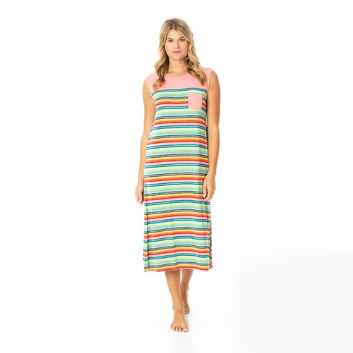 Kickee Pants Cancun Print Midi Tank Nightgown with Pocket - Cancun Strawberry Stripe