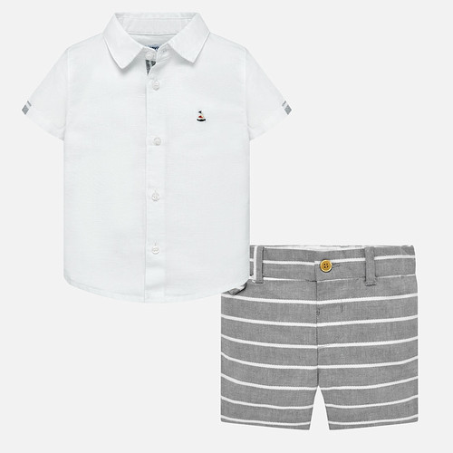 Mayoral Baby Boys Linen Shirt and Bermuda Shorts Set - Grey