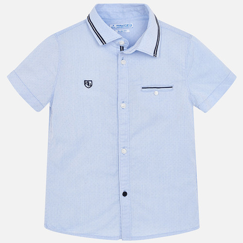 Mayoral Boys Short Sleeve Shirt - Light Blue