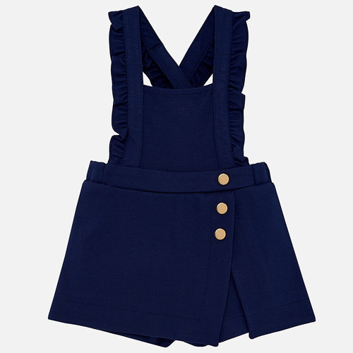 Mayoral Baby Girls Ruffled Overalls - Navy