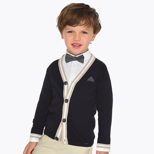 Mayoral Boys V-Neck Knitted Cardigan - Navy