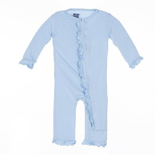 Kickee Pants Basic Layette Classic Ruffle Coverall - Pond