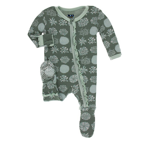 Kickee Pants Print Muffin Ruffle Footie with Zipper - Succulent Plants, 2T