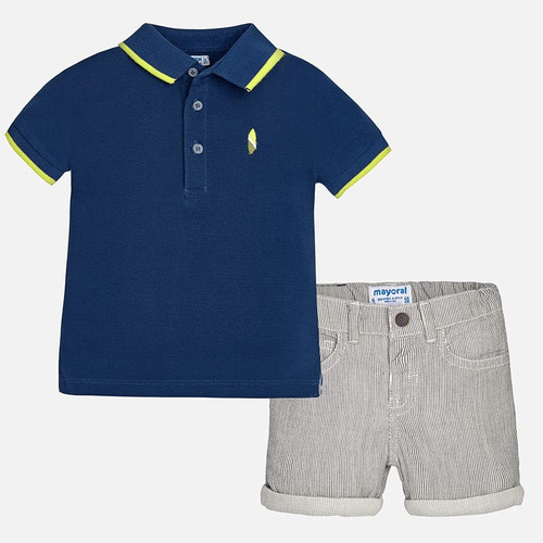 Mayoral Baby Boys Striped Shorts Set - Navy