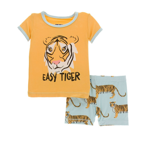 Kickee Pants India Print S/S Pajama Set with Shorts - Spring Sky Tiger