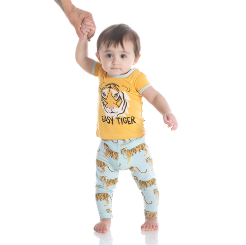 Kickee Pants India Print S/S Pajama Set - Spring Sky Tiger