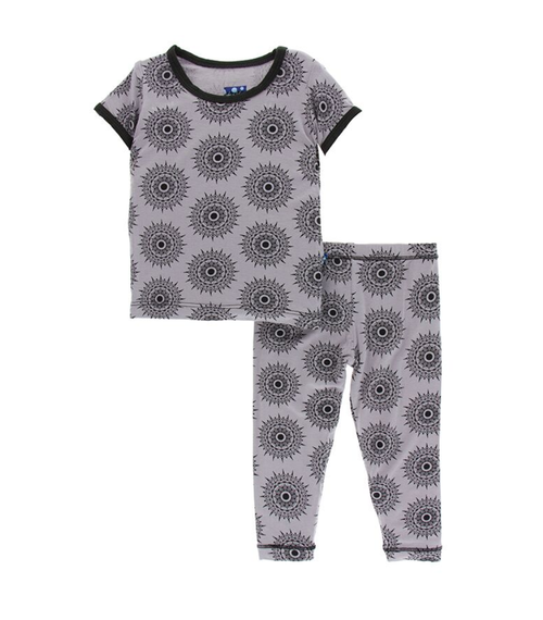 Kickee Pants India Print S/S Pajama Set - Feather Mandala