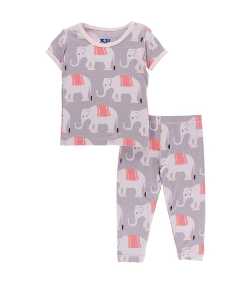 Kickee Pants India Print S/S Pajama Set - Feather Indian Elephant