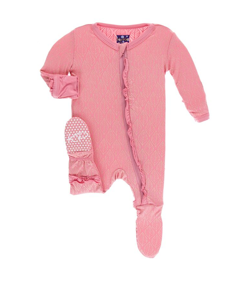 Kickee Pants India Print Layette Classic Ruffle Footie with Zipper - Desert Rose Gold Leaf