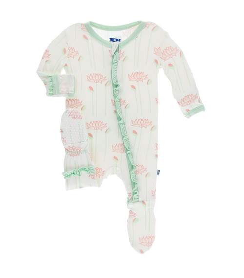 Kickee Pants India Print Layette Classic Ruffle Footie with Zipper - Natural Lotus Flower