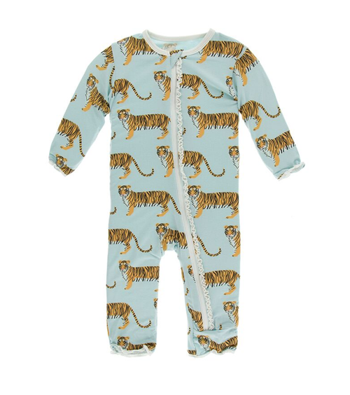 Kickee Pants India Print Muffin Ruffle Coverall with Zipper - Spring Sky Tiger