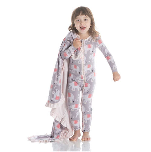 Kickee Pants India Print Muffin Ruffle Coverall with Zipper - Feather Indian Elephant