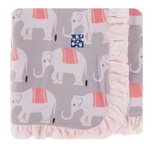 Kickee Pants India Print Ruffle Stroller Blanket - Feather Indian Elephant
