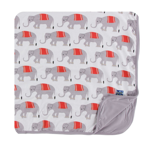 Kickee Pants India Print Toddler Blanket - Natural Indian Elephant