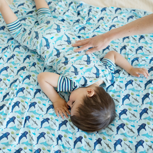Ocean Blue Sharks Toddler Blanket