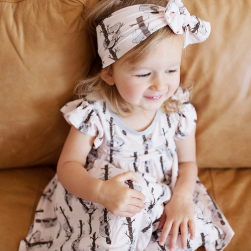 Powder Pink Koalas Twirling Dress
