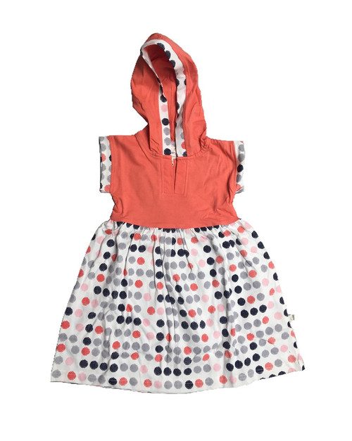 Origany Organic Cotton Burst of Dots Gathered Hoodie Dress