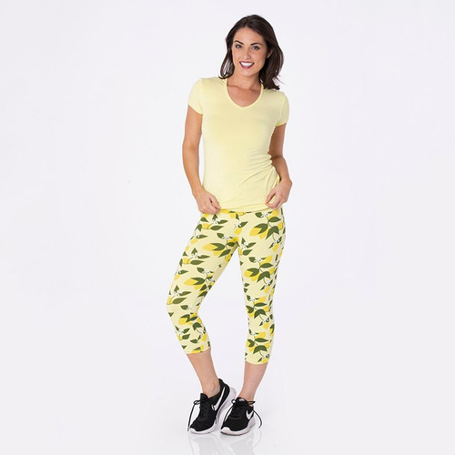 Kickee Pants Print Women's Performance 3/4 Legging - Lime Blossom Lemon Tree